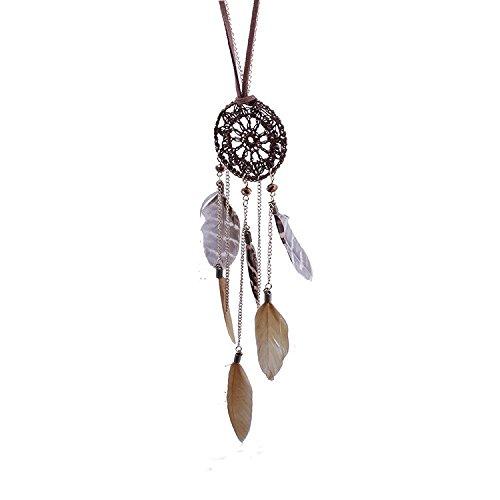 Sunnywill Dreamcatcher Feder Federn handgewebte Halskette Long Pullover Kette für Frauen Mädchen Damen (Kaffee)