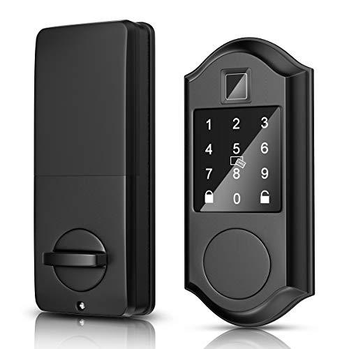 Narpult Smart Lock, Fingerprint Electronic Deadbolt Door Lock, Keyless Entry Door Lock Featuring Auto-Locking, Smart Door Lock, Compatible with Alexa, Google Assistant – Black