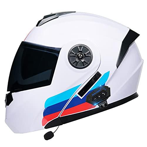 Casco Moto Hombre Casco de Moto Modular con Doble Anti Niebla Visera, Bluetooth Integrado Cascos de Motocicleta ECE Homologado para Adultos Hombres Mujeres 55-62CM