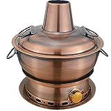 ZHIRCEKE Pentola Calda mongola elettrica, 304 304 in Acciaio Inox Acciaio Inossidabile Hot Pot Old-Fashion Stufa Rotonda Vecchia Balcora antincendio di Pechino Caldaia Calda Calda
