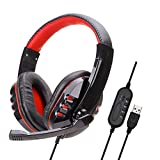YINSY Gaming Headset,USB Wired Sound Stereo Headphones,with Noise Cancelling Microphone,Mute & Volume Control, for PC, Laptop, Computer,A