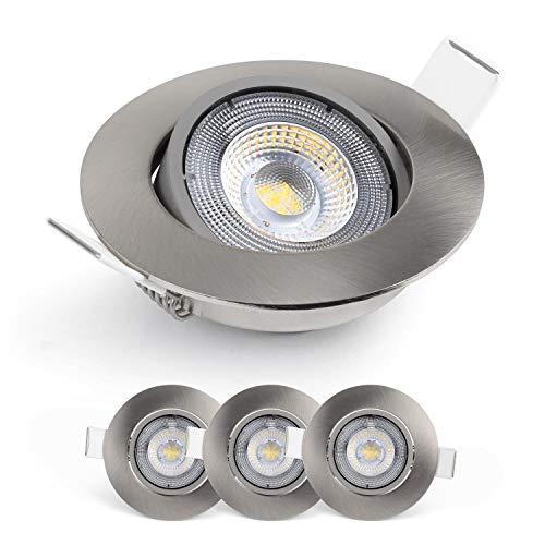 Emos Exclusive ultraflache LED Einbaustrahler 50° schwenkbar, Set mit 3 Stück Spots rund, 5W / 450lm / warmweiß 3000k, LED Modul Einbauleuchten (nickel/silber)