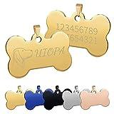 Uiopa Chapa Perro Grabada, Hueso para Mascotas Placa Perro Grabada, Placa Chapa Medalla de Identificación Personalizada Placas para Perros Grabadas Para Collar Perro Gato Mascota (Dorado, Grande)
