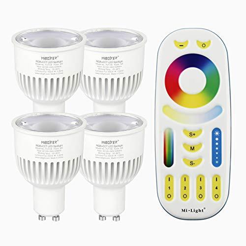 LIGHTEU®, Milight Miboxer 4x 6W GU10 RGB + CCT LED Scheinwerfer Farbwechsel und CCT WW CW Temperatur mit einer Fernbedienung einstellbar (4x FUT106 + FUT092)
