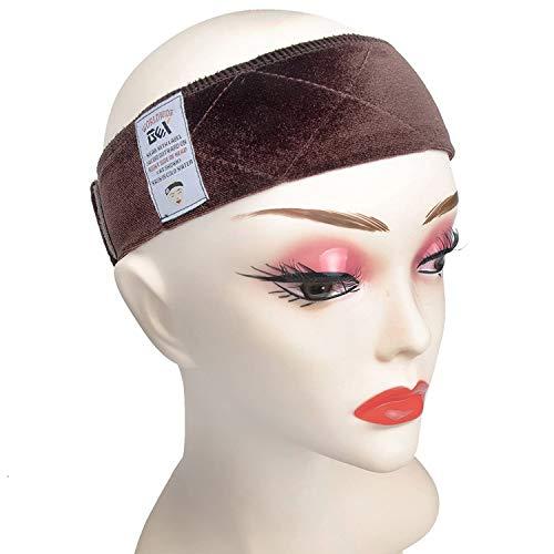 GEX Beauty Flexible Velvet Wig Grip Scarf Head Hair Band Wig Band Adjustable Fastern (Dark Brown)