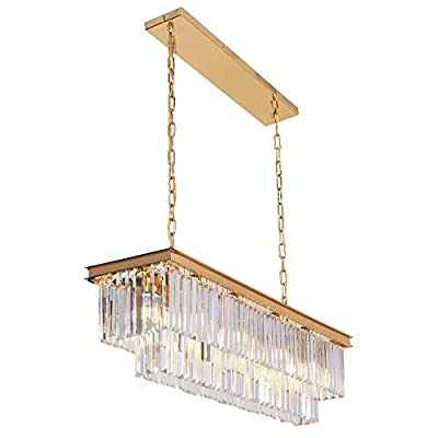 "OSAIRUOS L40"" Modern Rectangular Crystal Chandelier Lighting Linear Pendant Ceiling Lighting Fixture for Dining Room Kitchen Island Rectangle Chandelier, Plating Gold Finished"