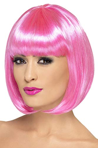 Smiffys Women's 12inch Short Pink Bob with Bangs, One size, Partyrama Wig, 5020570423929