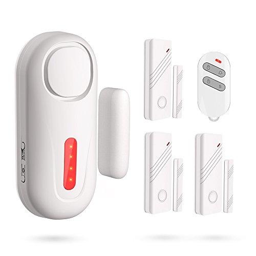 ERAY Window Door Alarm, D2 Wireless DIY Home Kids Child Elder Security Burglar System Gate Alert Kit with 3 Door Sensor and 1 Remote Control - Battery Powered (Included)