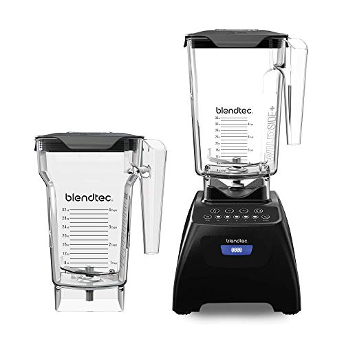Blendtec Classic 575 Blender - WildSide+ Jar (90oz) and FourSide Jar (75 oz) BUNDLE - Professional-Grade Power - Self-Cleaning - 4 Pre-programmed Cycles - 5-Speeds - Black