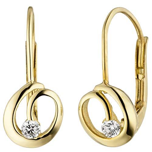 Jobo - Pendientes de oro amarillo 333 para mujer, 2 circonitas