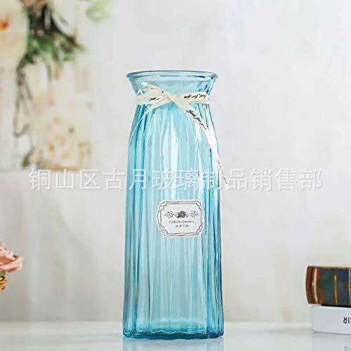 Hezeyang Einfache gerippte Glasvase der europäischen Art transparente Wasserblumenorigami-Blumenvasenwohnzimmer-Inneneinrichtungsverzierungen
