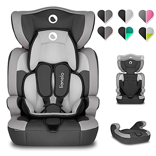 Lionelo Levi One Kindersitz 9-36kg Kindersitz Auto höhenverstellbare vertiefte Kopfstütze Seitenschutz abnehmbare Rückenlehne Sitzverkleinerer 5-Punkt-Gurte (Grau)