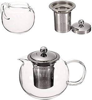 BoBoHome Pot De Thé D'Infuseur De Théière en Verre Résistant À La Chaleur d'acier Inoxydable Clair De 600/950/1300Ml - 1300Ml