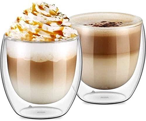 UMIGAL Doppelwandige Gläser Borosilikatglas - Für Tee, Kaffee, Latte, Cappuccino Gläser Kaffee Gläserset / Tee Doppelwandiges Café Crème- Glas Set 2 - 250ml (B- 2 Gläser 250ML)