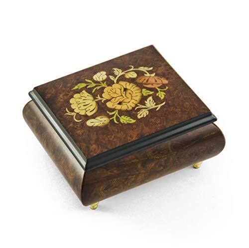 MusicBoxAttic Adorable Caja de música con Incrustaciones de Motivos Florales, más de 400 Opciones de Canciones, Madera, 159. Here Comes The Sun