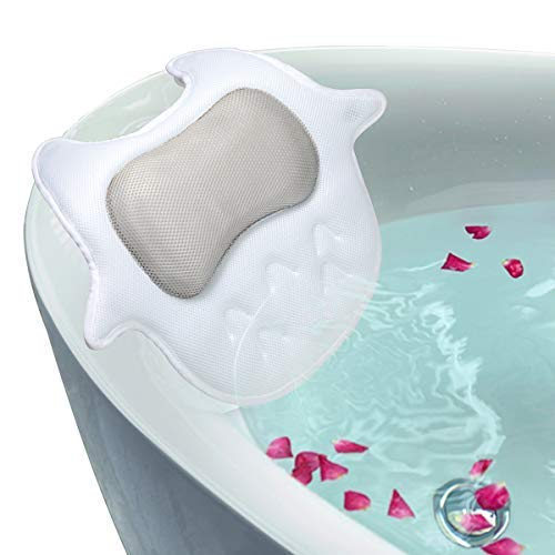 """Luxury Non-Slip Spa Bath Pillow For Tub with 5D Air Mesh Technology, Machine Washable- Extra Large Size (17.7"""" x 17.7"""") Bath Pillow Cushion Provides Head, Neck, Shoulder Support in Tub.(Owl shape)"""