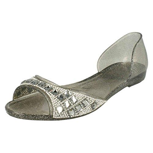 Spot on Damen Jelly Ballerina Style Schuhe mit Ziersteinen (40 EU) (Zinn)