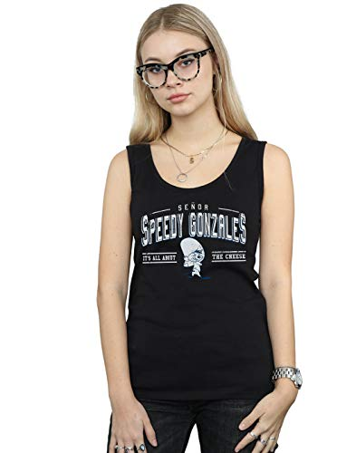 ABSOLUTECULT Looney Tunes Women's Speedy Gonzales All About Cheese Tank Top Black XX-Large