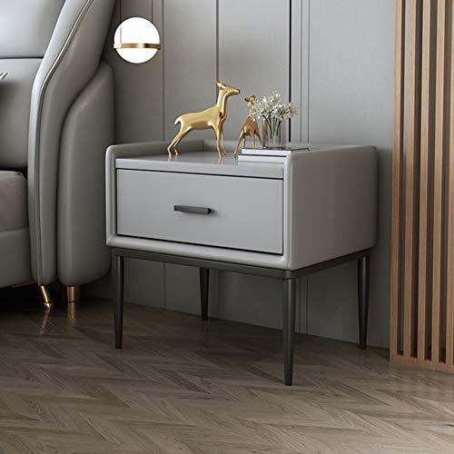 Hochwertiger Nachttisch, Nordic-Stil Luxus Nachttisch, Massivholz Kommode, Kohlenstofflegierungsgriffe Und Lasthaltige Beine, 50 * 40 * 51 Cm,Grau