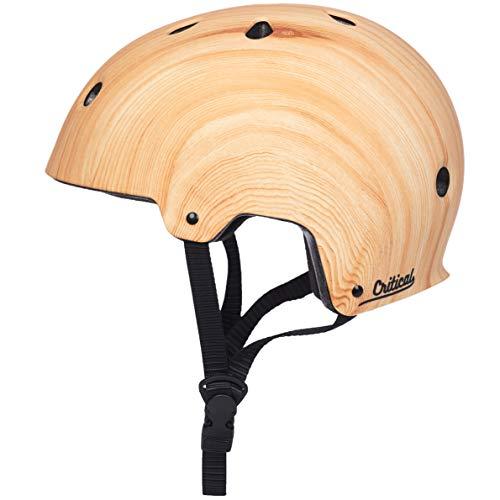 Critical Cycles Classic Commuter Bike/Skate/Multi-Sport CM-2 Helmet with 11 Vents, Matte Wood Grain, Small: 51-55 cm / 20'-21.75