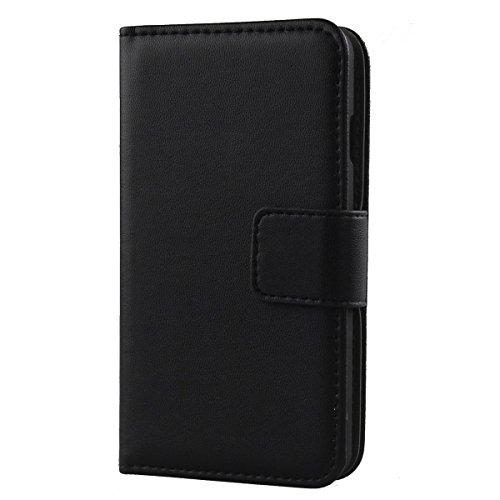 """Gukas Design Echt Leder Tasche Für Doro Liberto 8031 4.5\"""" TPU Silikon Hülle Handy Flip Brieftasche mit Kartenfächer Schutz Protektiv Genuine Premium Case Cover Etui Skin Shell (Schwarz)"""