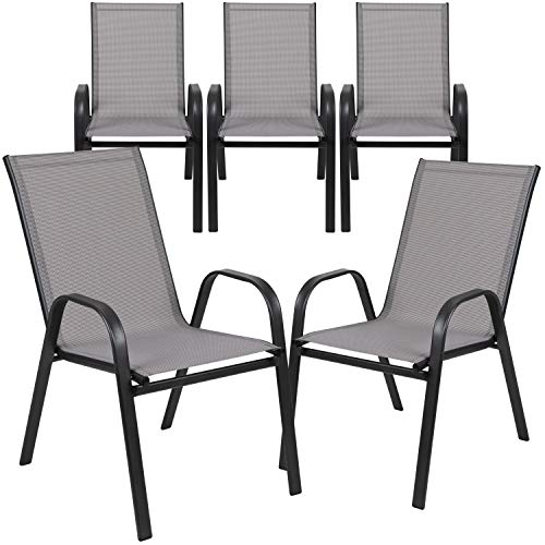 Flash Furniture 5 Pack Brazos Series Gray Outdoor Stack Chair with Flex Comfort Material and Metal Frame