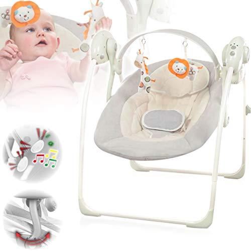 Babyschaukel (vollautomatisch 230V) mit 8 Melodien und 5 Schaukelgeschwindigkeiten (GRAU)