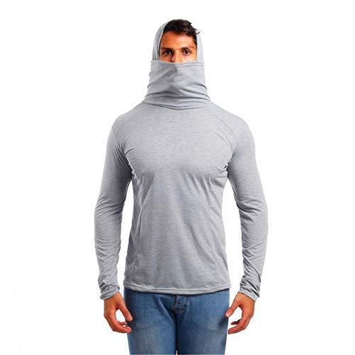 Hoodie Herren Langarm Einfarbig T-Shirt Slim Fit Sonnenschutz Mit Kapuze Sweatshirt Surf Laufen Angeln Wandern Atmungsaktiv Komfortabel Sanft Pullovers -C-Grey XL