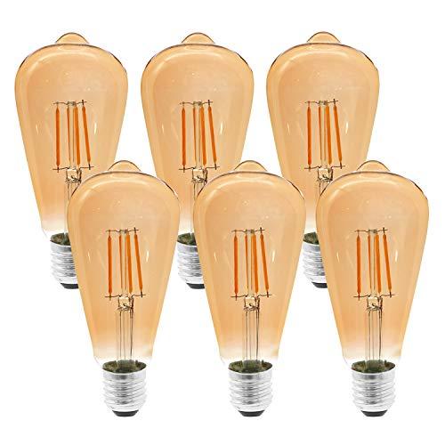 Etrogo LED Edison Vintage Glühbirnen, E27 Glühlampe Lampe 4W Entspricht 40W 400LM Warmweiß 2300K ST64 Dekorationsbirnen [6 Einheiten]