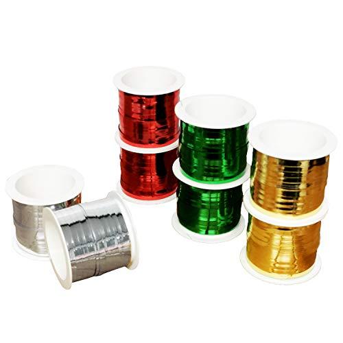 Land-Haus-Shop Geschenkband Set 8 Rollen 4 Farben Weihnachten Kräusel Ringel Band 20 m je Rolle Rot Grün Gold Silber Gesamt160m (EUR 0,05 / M)