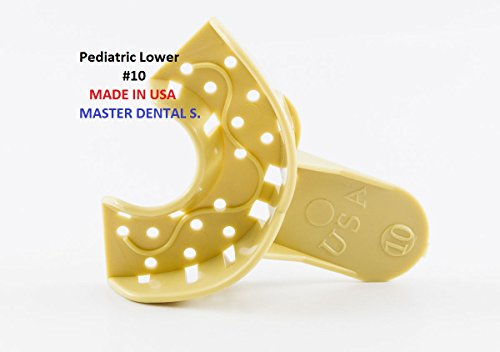 12 Dental Impression Trays Partial Perforated Plastic Autoclavable Pediatric Anteior Lower #10 MADE IN USA