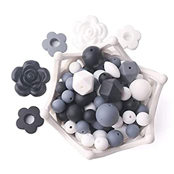 Baby Silicone Beads BPA Free Food Grade Beads Black and White Series DIY Jewelry Chewable Nursing Necklace Accessories