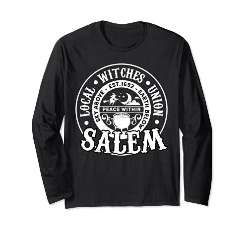 Salem Local Brujas Unión Cielo Sobre la Tierra Est 1692 Halloween Manga Larga