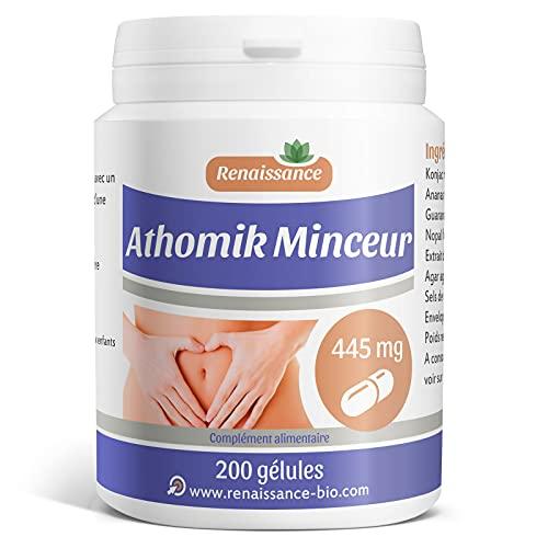 Athomik Minceur - 445 mg - 200 gélules de plantes, Guarana, Nopal, Konjac.