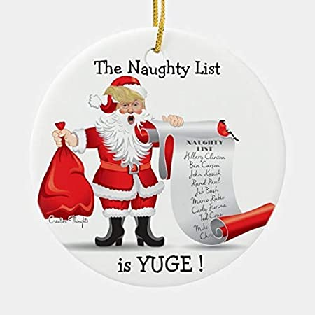 Santa Donald Trump with Naughty List Ch Wood Christmas Tree Ornament