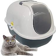 Cat Centre Cat Flip Litter Tray Dark Grey & White Box 53 x 39 x 41cm Hooded Toilet Charcoal Filter D...