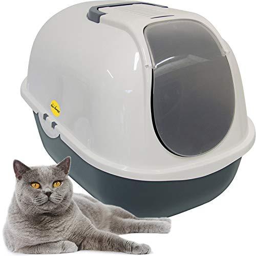 Cat Centre Cat Flip Litter Tray Dark Grey & White Box 53 x 39 x 41cm Hooded Toilet Charcoal Filter Deep