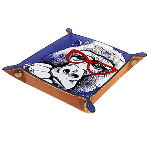 rodde Bandeja de Valet Cuero para Hombres - Mono Gorila Gracioso Soy Genial - Caja de Almacenamiento Escritorio o Aparador Organizador,Captura para Llaves,Teléfono,Billetera,Moneda