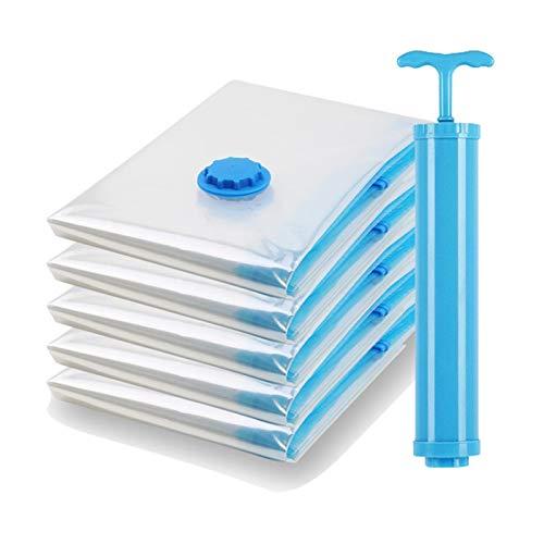 Paquete de 10 bolsas de vacío para paquetes de ropa, organizador comprimido, ahorro de espacio, bolsas de sellado transparentes plegables