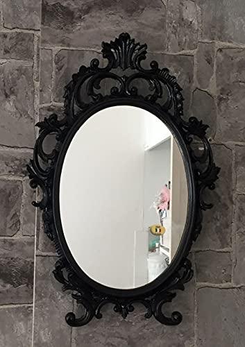 Espejo de pared decorativo, diseño barroco, color negro, ovalado, antiguo, clásico, 43 x 27 cm, C531