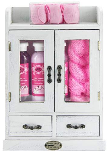 BRUBAKER Cosmetics - 10-teiliges Bade- und Pflege Geschenkset - Kirschblüten & Reismilch - Vegan - im Vintage Holzschrank Weiß