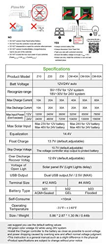 PowMr 30A Solar Charge Controller, Solar Panel Charge Controller 12V 24V Dual USB, Adjustable Parameter Backlight LCD Display and Timer Setting ON/Off Hours(Z30A)