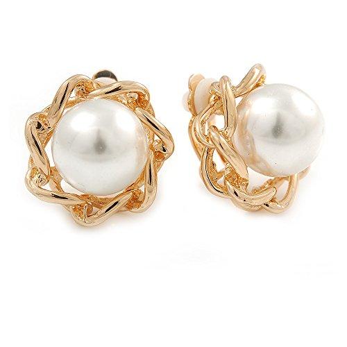 Orecchini a clip con perle finte bianche, color oro, 20 mm di diametro
