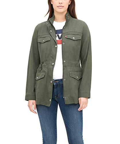 Levi's Women's Stand Collar Cotton Tencel 4-Pocket Military Jacket, Army Green, Small