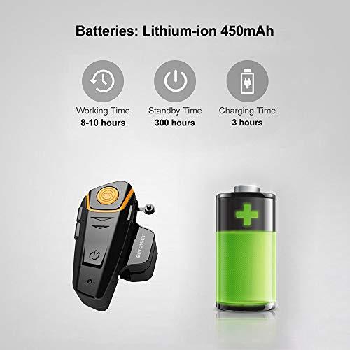 Interfono Moto Bluetooth Coppia BETOWEY BT-S2 Auricolari Bluetooth Casco Moto - Doppia, Microfono Duro