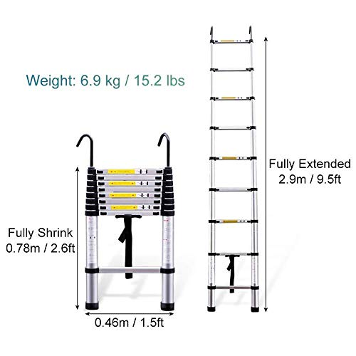 Telescopic and Climbing Ladder Telescoping Extension Ladder Foldable, Lightweight Aluminum Portable Ladder with Hook, for Multi-Use in Home Attic RV Indoor Outdoor (Size : 2.9m/9.5ft)
