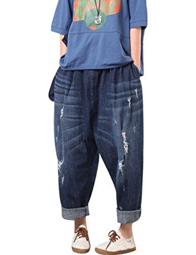 Youlee Mujer Cintura elástica Pierna Ancha Pantalones de harén Agujero Pantalones Blue