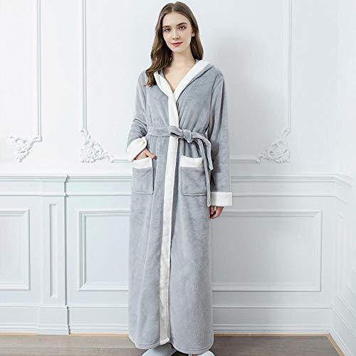 ASADVE Otoño e Invierno Albornoz Pijamas de Engrosamiento cinturón sólido de Mujer Pijamas Sueltos Anchos de Cintura Retro Bata de Mujer-Gris Claro_L