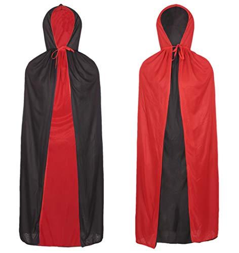 Redstar Fancy Dress - Vampirumhang - wendbar - Draculakostüm Halloween - Schwarz und Rot