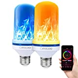 Omicoo Upgrade LED Flame Effect Fire Light Bulbs with patents,4 Modes Multiple Colors E26 E27,Halloween Decorative Light Atmosphere Light Vintage Christmas Lights,Controlled by Phone(2 Pack)